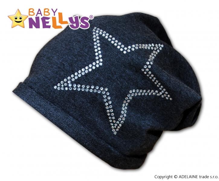Bavlněná čepička Baby Nellys ® - Hvězdička/ stříbrný lem - 48/54 čepička obvod