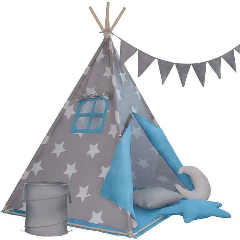 detsky-stan-teepee-modro-sedy-s-prislusenstvim-vlajky