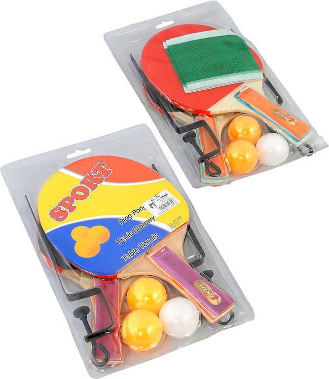 Pinpongový set 2 pálky se 3 míčky a síťkou na stolní tenis (ping pong) blister