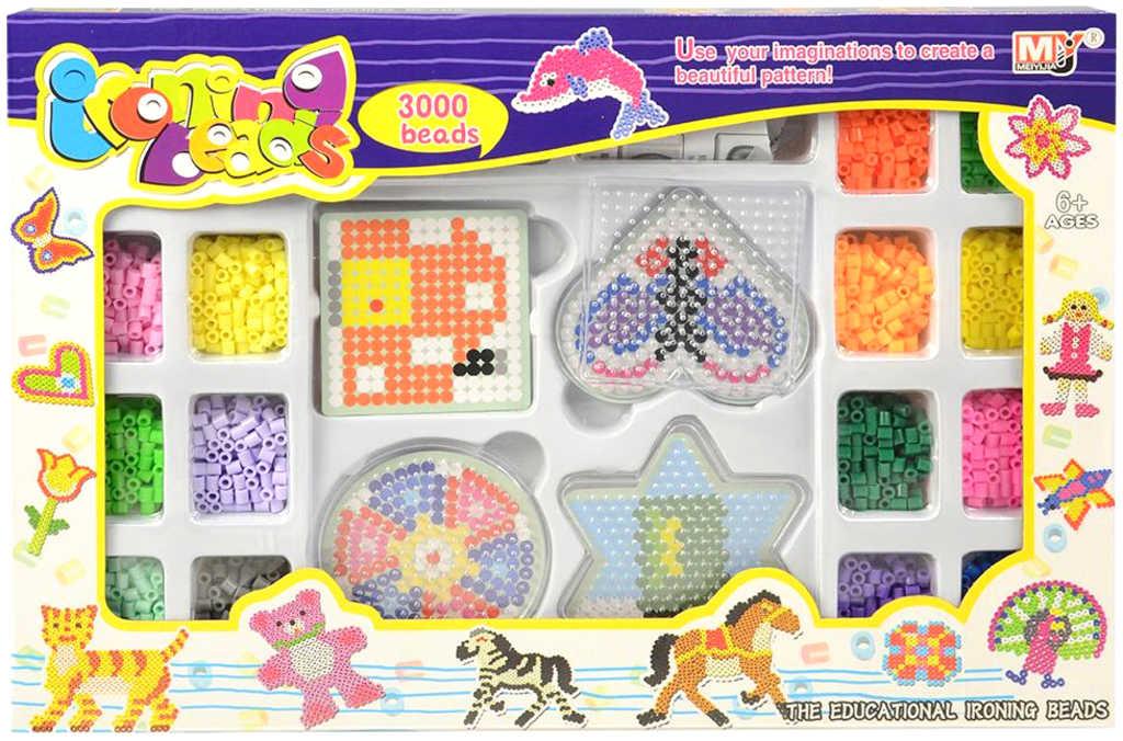 Korálky barevné zažehlovací mozaika set 3000ks s doplňky v krabici
