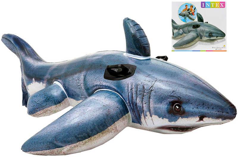 INTEX Žralok nafukovací 173x13cm dětské vozítko do vody s úchyty 57525