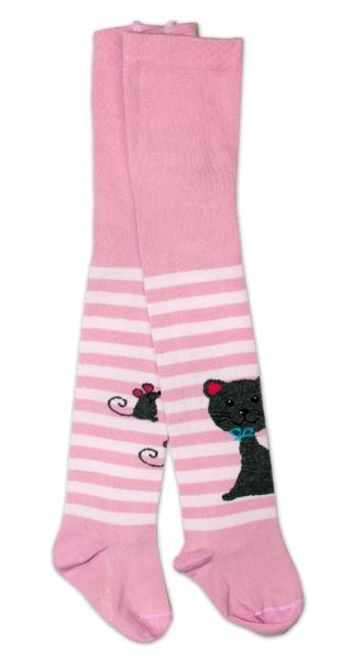 Bavlněné punčocháče - Cat růžové