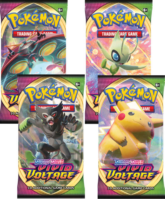 ADC HRA Karty doplňkové SWSH04 Pokémon Vivid Voltage 1 Booster set 10 karet