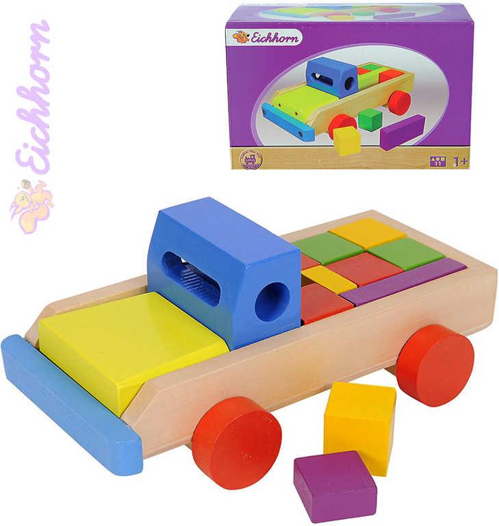 EICHHORN DŘEVO Baby kostky autíčko set 8 dílků *DŘEVĚNÉ HRAČKY*