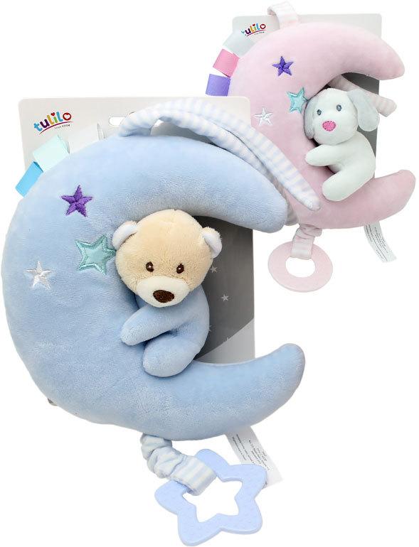 PLYŠ Baby zvířátko natahovací s melodií 20cm usínáček měsíček různé druhy Zvuk