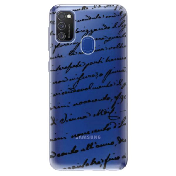 Odolné silikonové pouzdro iSaprio - Handwriting 01 - black - Samsung Galaxy M21