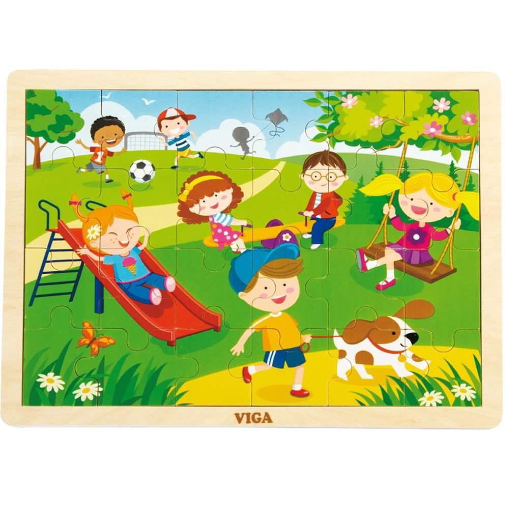 Dětské dřevěné puzzle Viga Jaro - multicolor