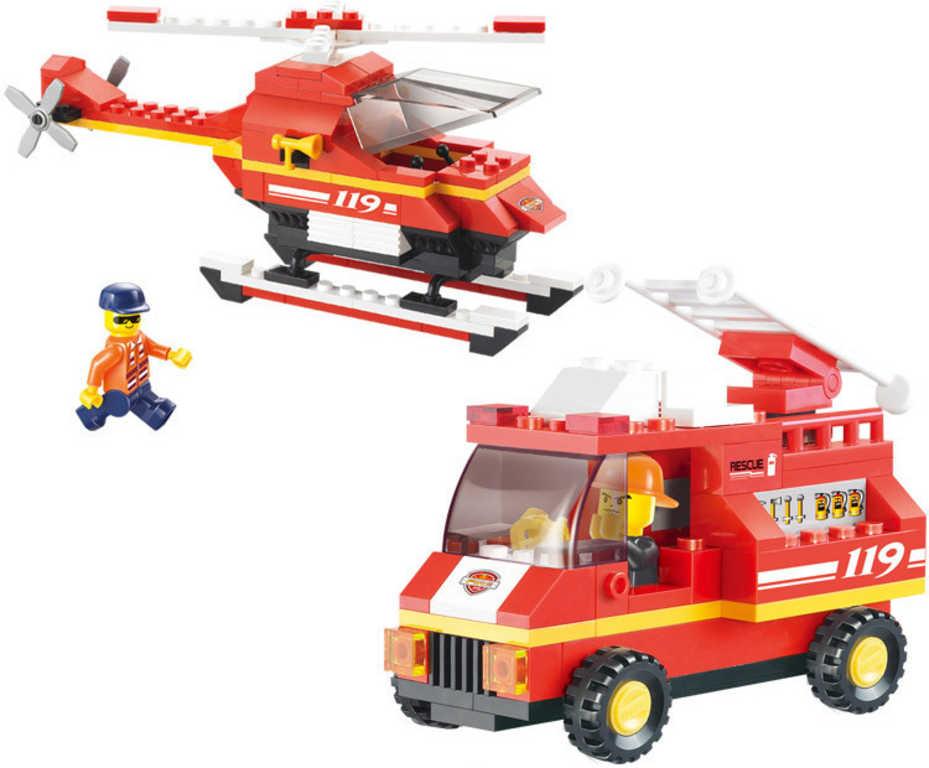 SLUBAN Stavebnice HASIČI hasičské auto a vrtulník 211 dílků + 3 figurky plast