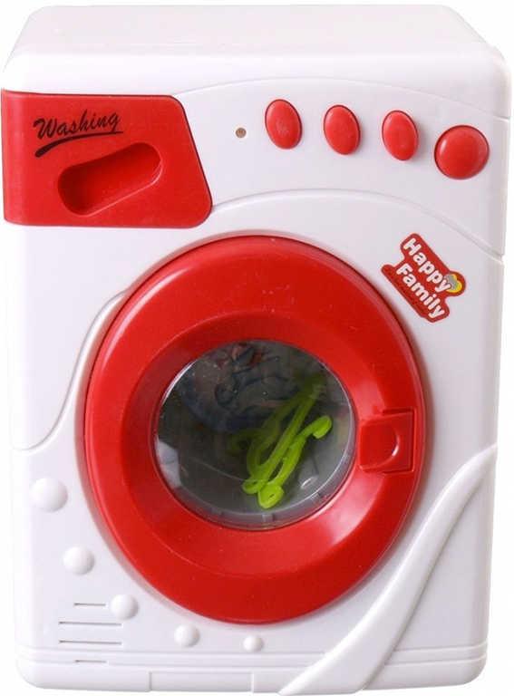 Pračka dětská bílo-červená na baterie set se 2 ramínky Světlo Zvuk