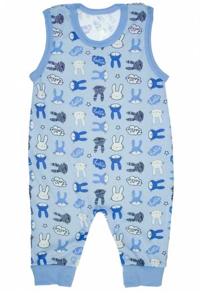 Bavlněné dupačky Zajíčci - vel. 68 - modré - 68 (4-6m)