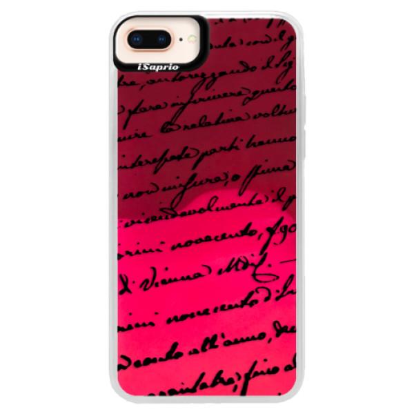Neonové pouzdro Pink iSaprio - Handwriting 01 - black - iPhone 8 Plus