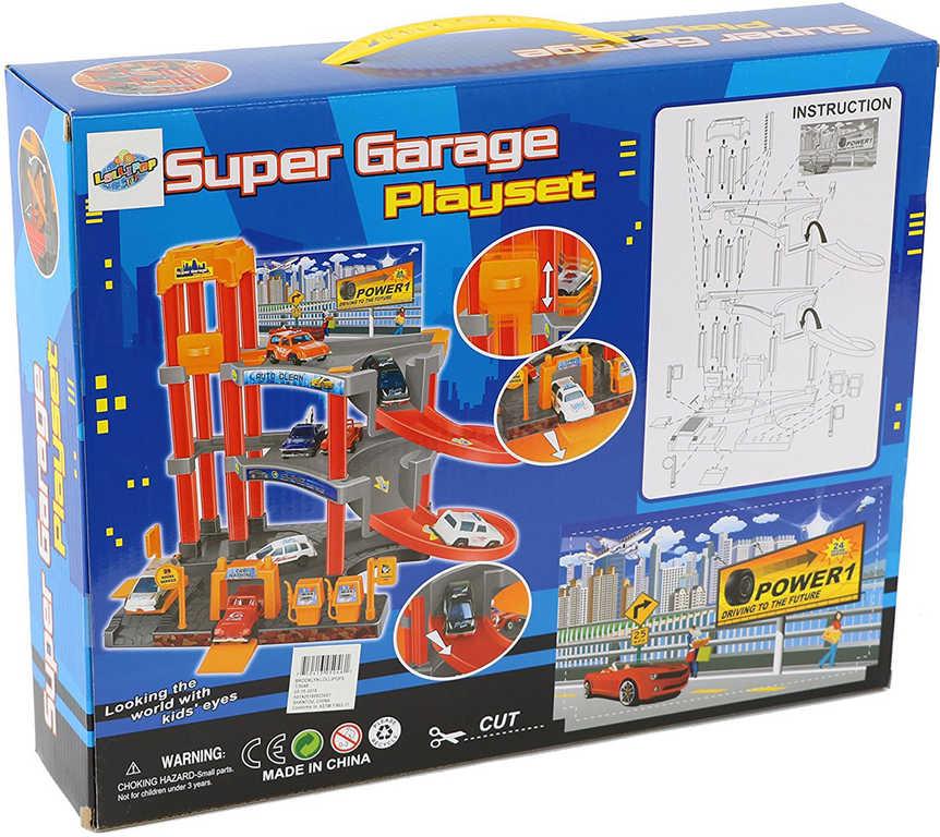Sada garáž 2 patra s výtahem + 3 autíčka s doplňky plast v krabici