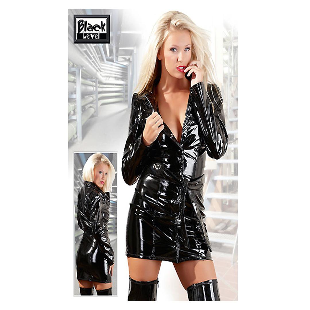 Lesklý svůdný černý kabátek s dlouhým rukávem Sindy (M, L, XL)