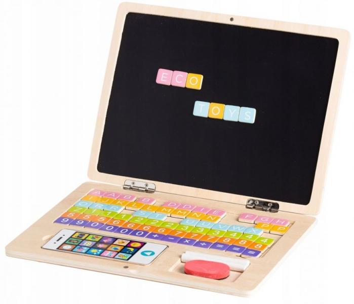 Dřevěný notebook s magnetickým monitorem