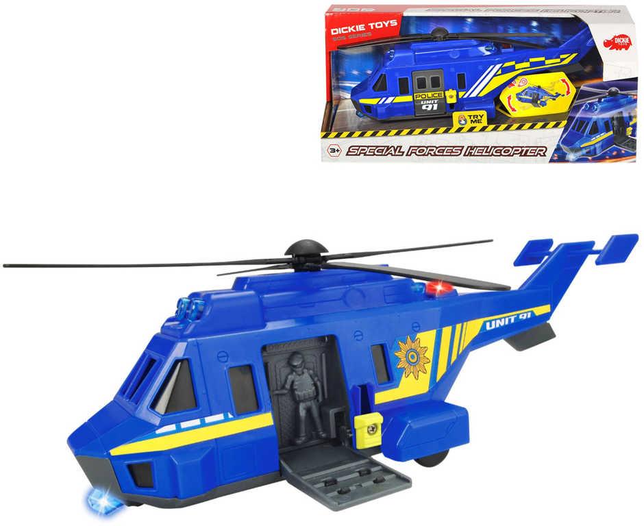 DICKIE Helikoptéra policie Special Forces modrá na baterie Světlo Zvuk