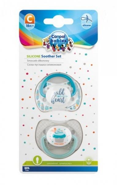 Sada symetrických dudlíků, 6 - 18 m, Canpol Babies - Wild heart, Cupcake