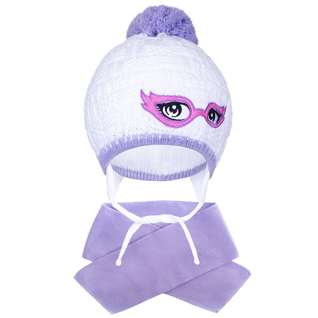 Zimní dětská pletená čepička se šálou New Baby - fialová/104 (3-4r)