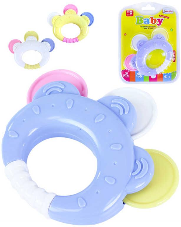 Baby chrastítko tamburína 12cm různé barvy plast pro miminko