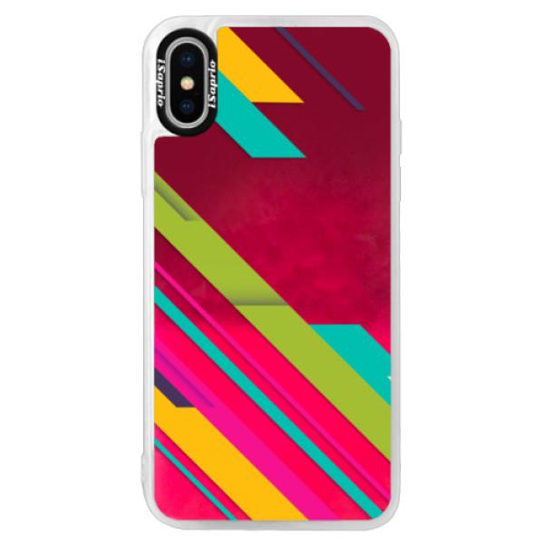 Neonové pouzdro Pink iSaprio - Color Stripes 03 - iPhone X