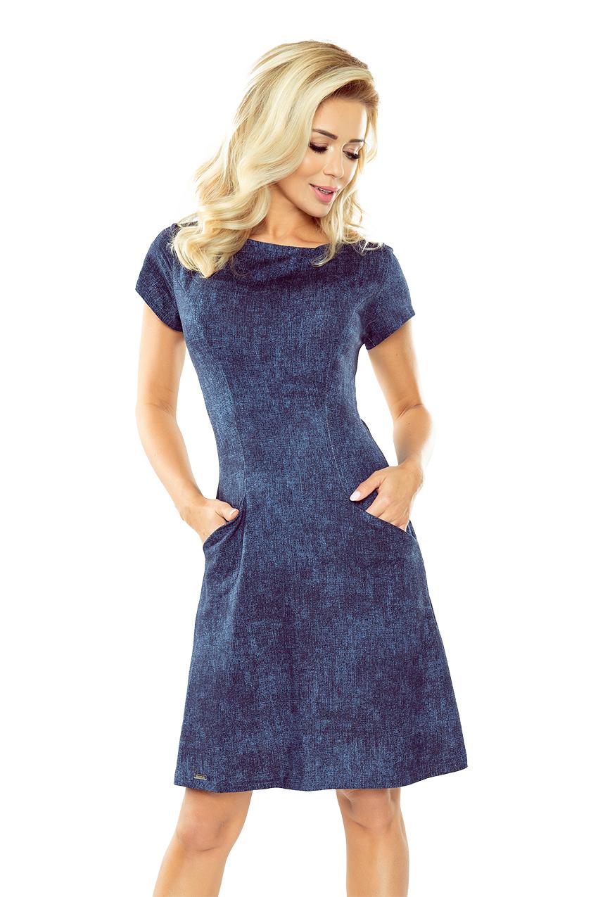 Tmavě modré džínové šaty s kapsami model 5277188 - S