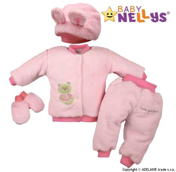 Chlupáčkový komplet Sweet Bear Baby Nellys ® - sv. růžový - 86 (12-18m)