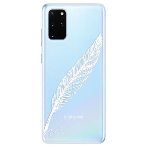 Odolné silikonové pouzdro iSaprio - Writing By Feather - white - Samsung Galaxy S20+