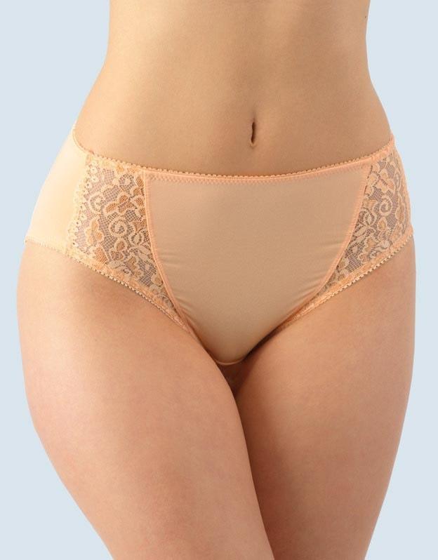GINA dámské kalhotky klasické vyšší se širokým bokem, širší bok, šité, s krajkou, jednobarevné La Femme 10120P - lososová