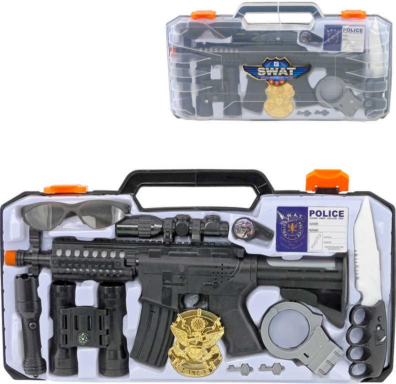 Sada dětská policejní se samopalem a dalekohledem na baterie v kufříku