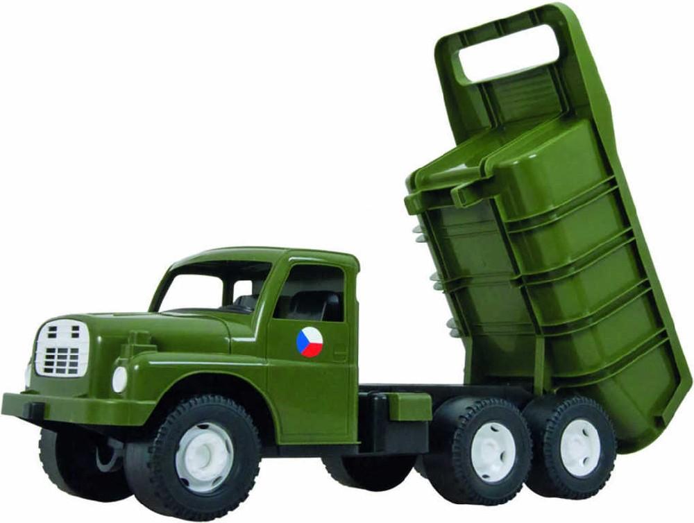 DINO Tatra auto nákladní T148 khaki vojenské SKLÁPĚCÍ KORBA na písek