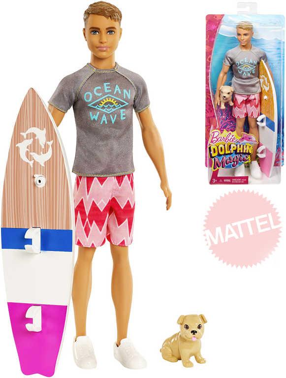 MATTEL BRB Barbie panák Ken magický delfín set s prknem a pejskem plast