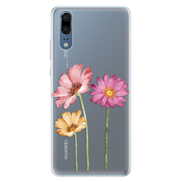 Silikonové pouzdro iSaprio - Three Flowers - Huawei P20