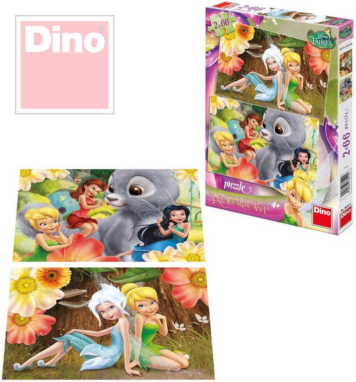 DINO Puzzle set 2v1 Disney Fairies Víly Zvonilka a Tvor Netvor 66 dílků v krabic