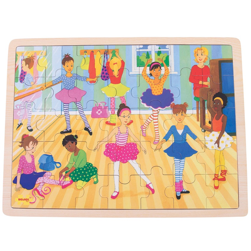 Bigjigs Toys Dřevěné puzzle baletky 35 dílků