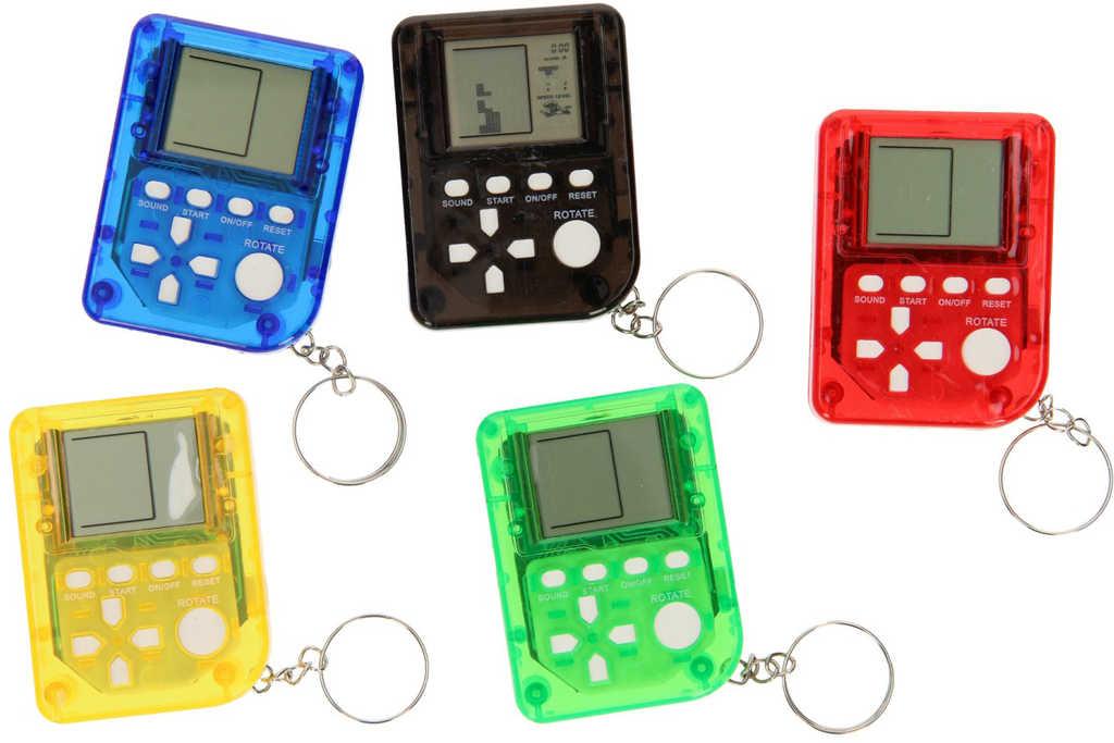 Přívěsek na klíče hra mini Brickgame Tetris na baterie Zvuk 6 barev