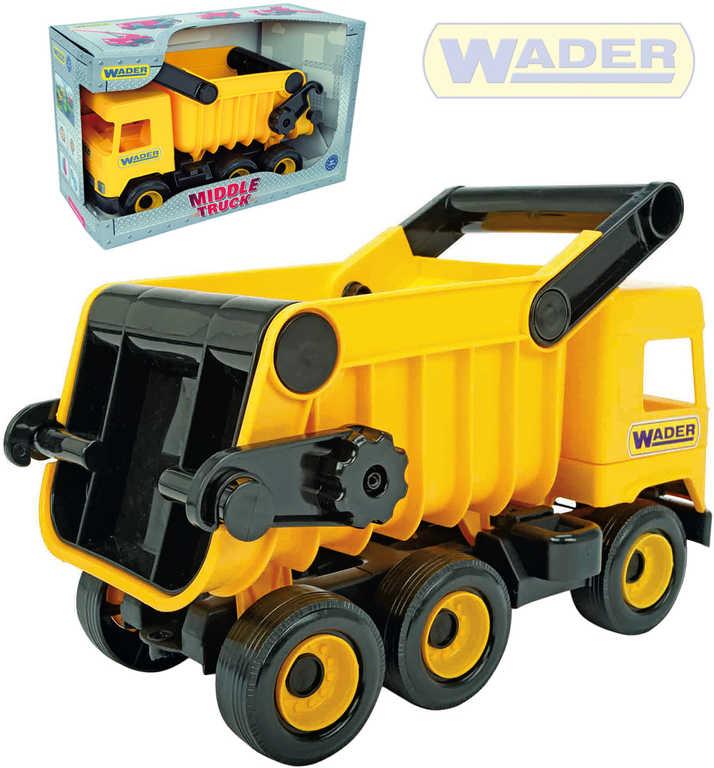 WADER Auto Middle Truck sklápěč 38cm žlutý plast v krabici 32121