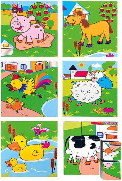 OLYMPTOY DŘEVO Kubus Zvířata 3x3 * DŘEVĚNÉ HRAČKY *