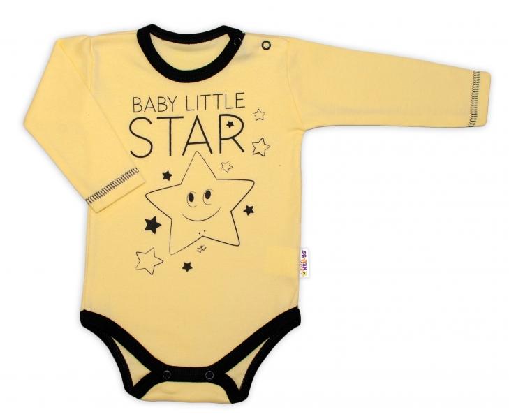 Baby Nellys Body dlouhý rukáv, žluté, Baby Little