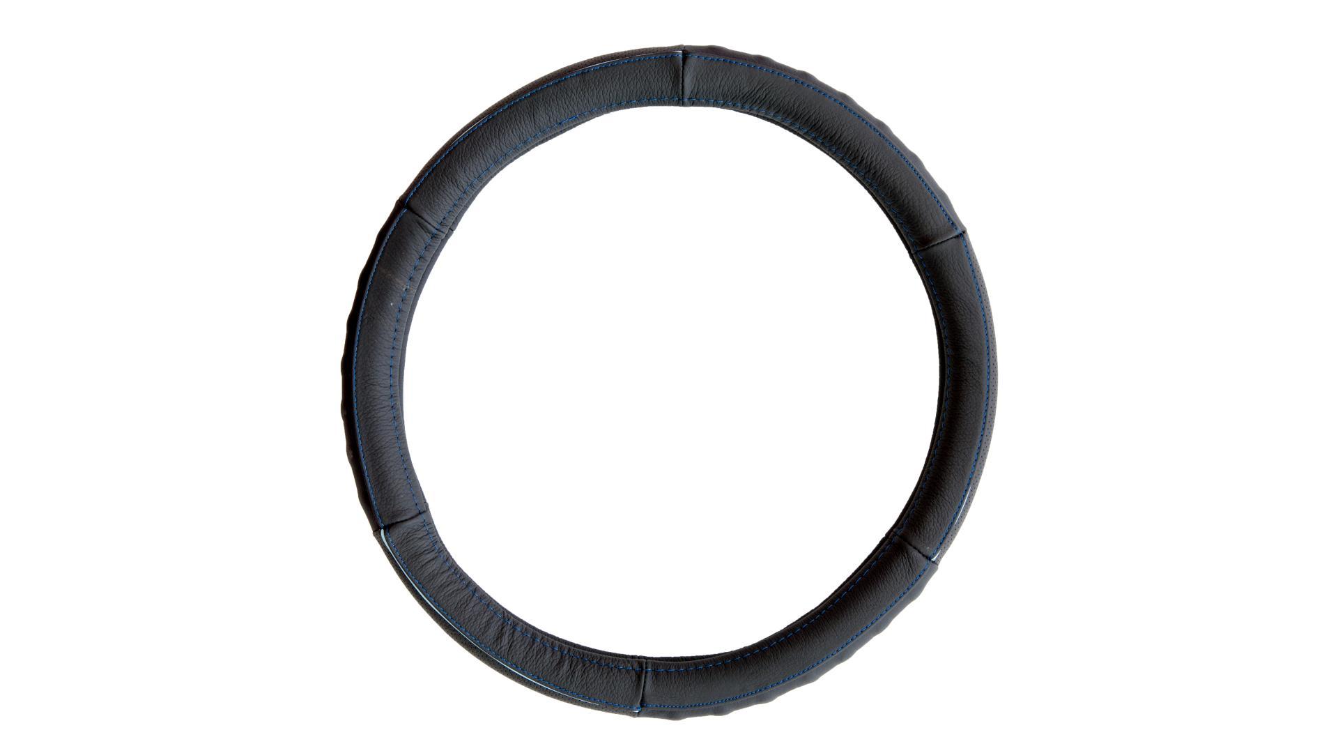 4CARS Potah volantu 37-39cm koža černý s modrým obšitím