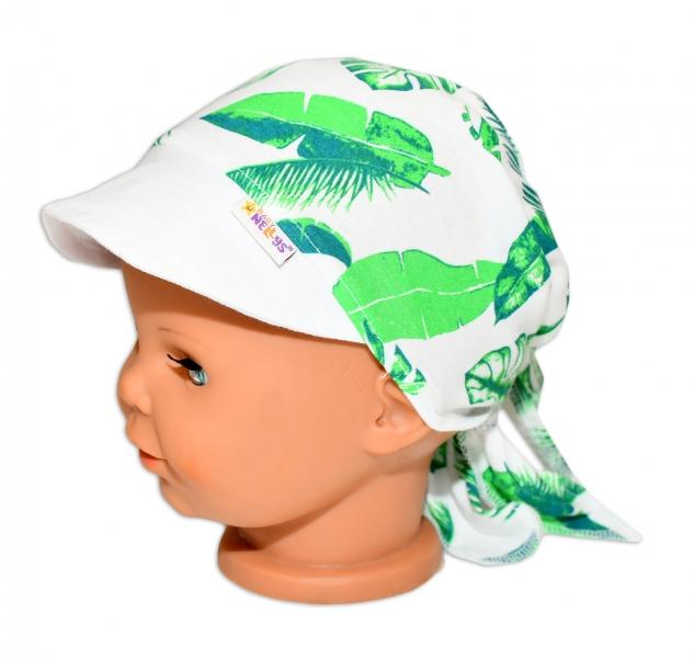 Baby Nellys Šátek na zavazování s kšiltem - Listy, vel.