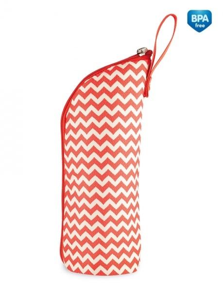 Termobox na kojeneckou láhev - červený/zigzag