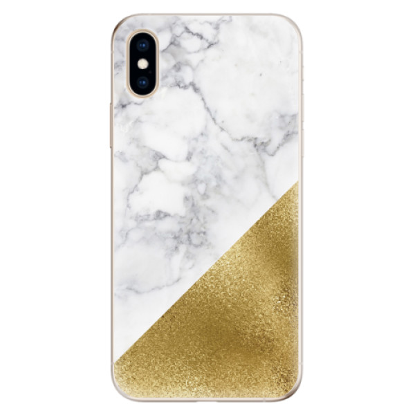 Odolné silikonové pouzdro iSaprio - Gold and WH Marble - iPhone XS
