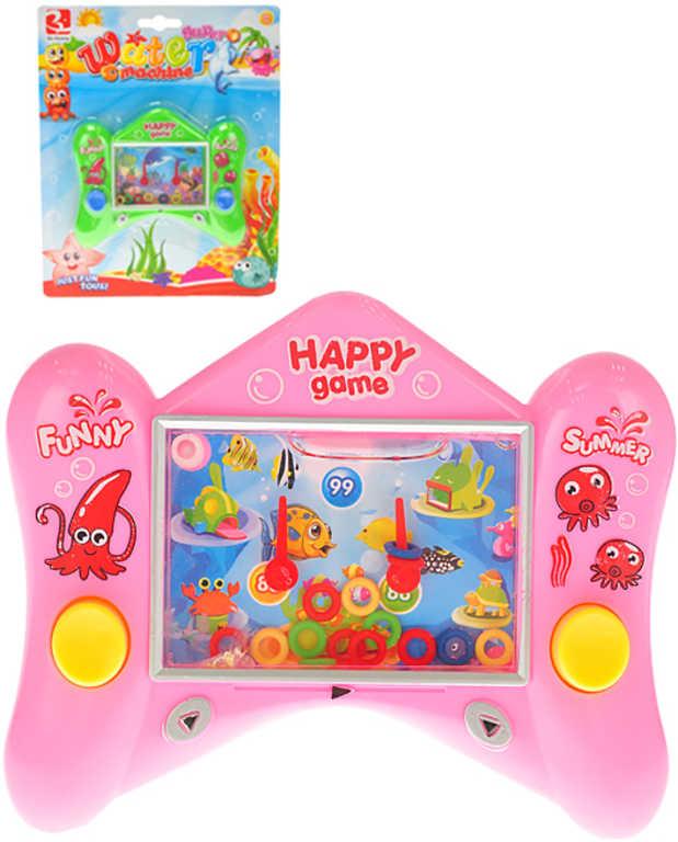 Hra vodní kapesní navlékání kroužků 4 barvy plast na kartě
