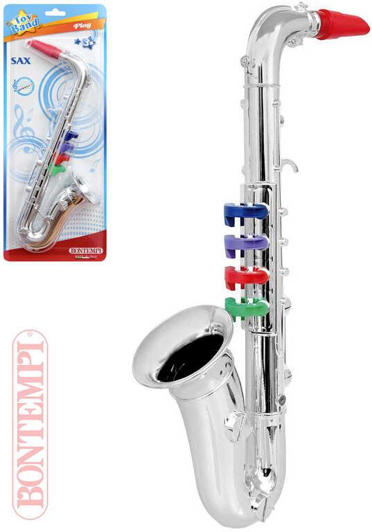 BONTEMPI Saxofon dětský stříbrný 4 klapek plast *HUDEBNÍ NÁSTROJE*