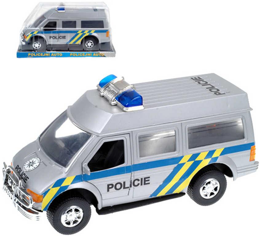 Auto dodávka policie CZ 27cm na setrvačník stříbrné v krabičce plast