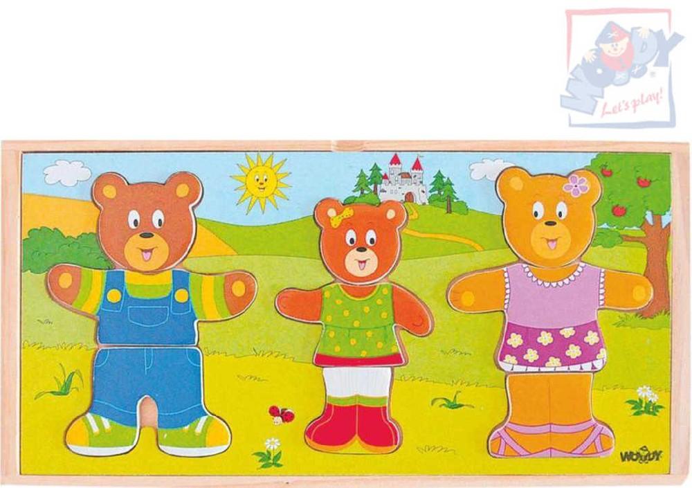 WOODY DŘEVO Puzzle šatní skříň oblékni si medvědí rodinku set 54 dílků