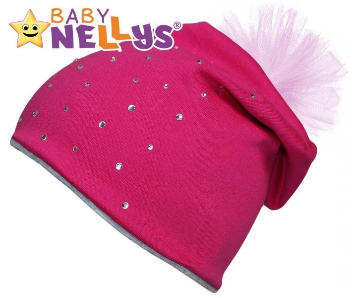 Bavlněná čepička Tutu květinka s kamínky Baby Nellys ® - sytě růžová, 48-52 - 48/50 čepičk