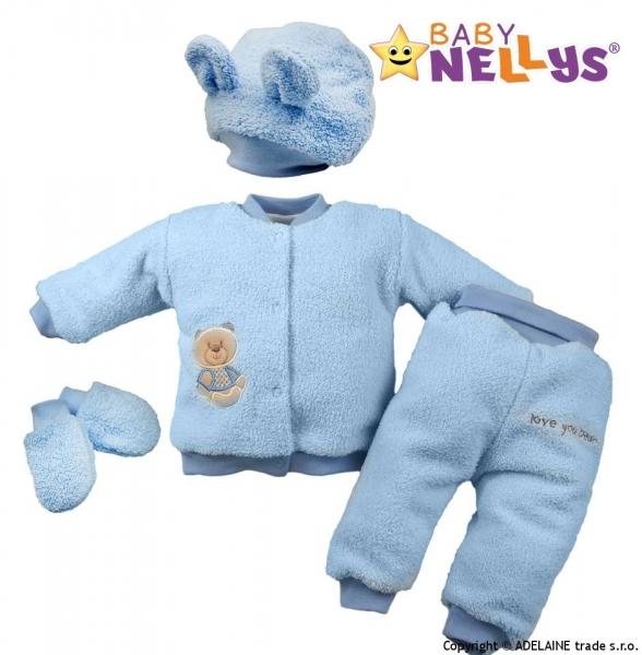 Chlupáčkový komplet Sweet Bear Baby Nellys ® - sv. modrý - 68 (4-6m)
