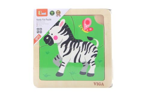 Dřevěné puzzle 4 dílky- zebra