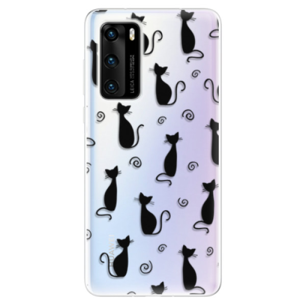 Odolné silikonové pouzdro iSaprio - Cat pattern 05 - black - Huawei P40
