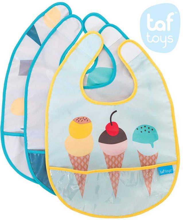 TAF TOYS Baby bryndák s potiskem s kapsou set 3ks pro miminko